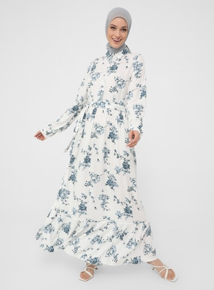 White - Blue - Floral - Point Collar - Unlined - Modest Dress - Woman