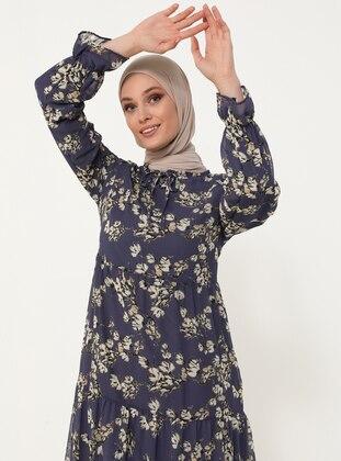 Tie-on Collar Chiffon Relax Fit Dress - Purple Floral Print - Woman
