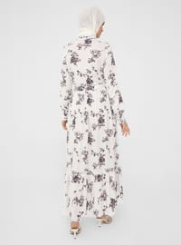 White - Purple - Floral - Point Collar - Unlined - Modest Dress - Woman
