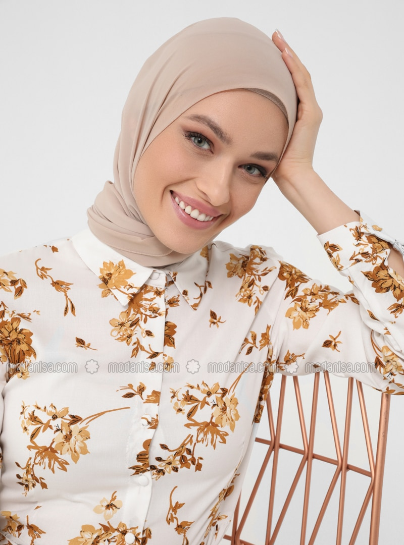 White - Mustard - Floral - Point Collar - Unlined - Modest Dress - Woman