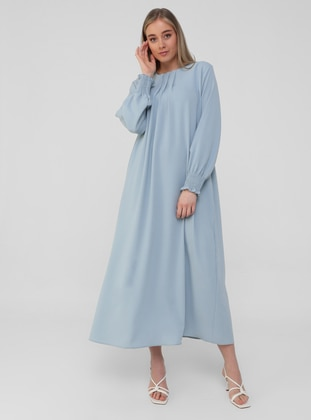 Ice Blue - Unlined - Crew neck - Plus Size Dress