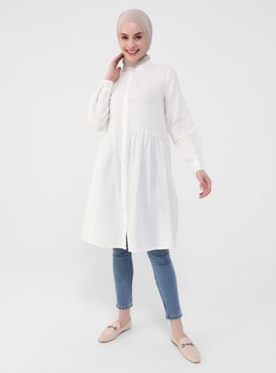 White - Ecru - Zebra - Button Collar - Tunic