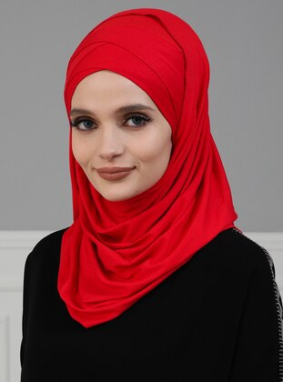 Red - Plain - Instant Scarf