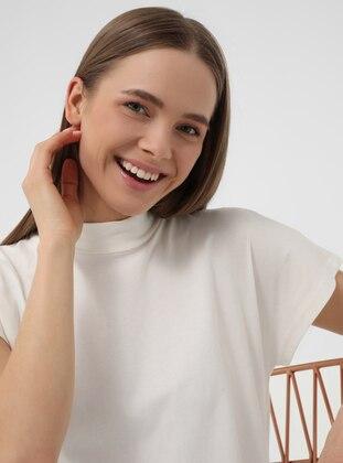 Mandarin Collar Off-shoulder Basic Tshirt- Ecru - Refka Basic