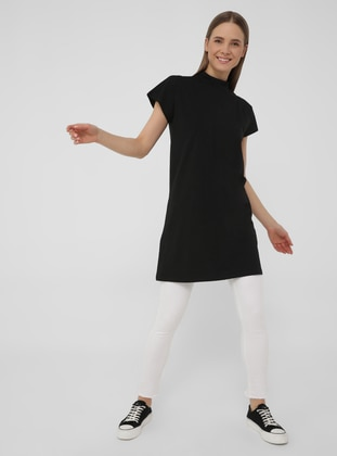 Mandarin Collar Off-shoulder Basic Tshirt -Black - Basic