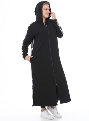 White - Black - Unlined - Plus Size Coat