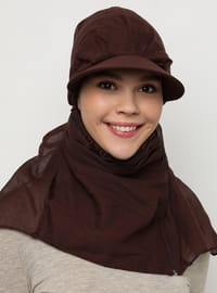 Brown - Plain - Pinless - Instant Scarf