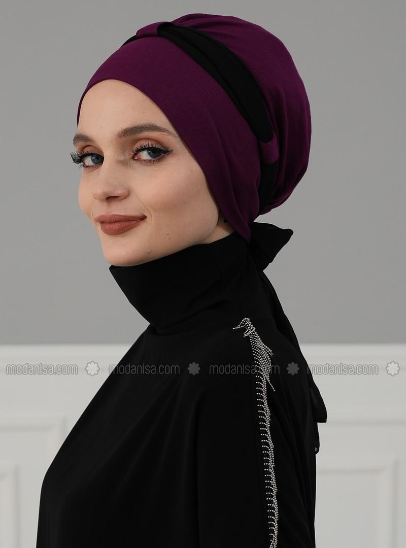 Purple - Black - Plain - Instant Scarf
