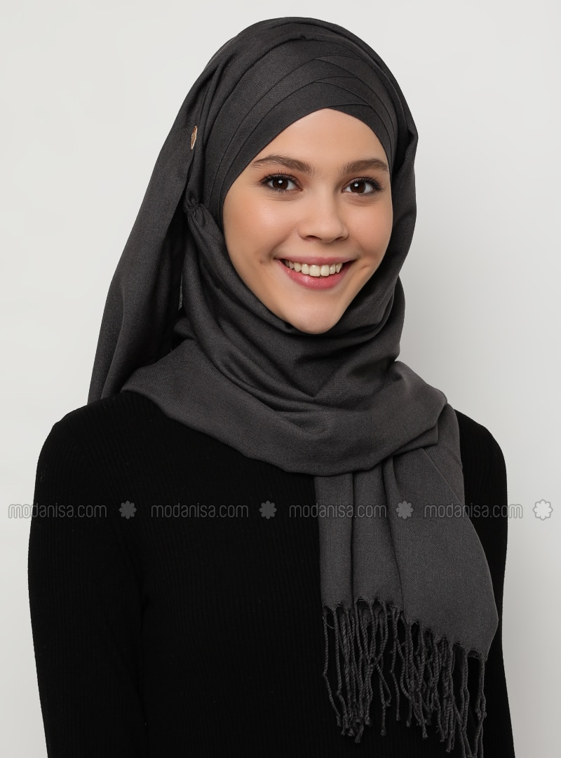 Anthracite - Gray - Plain - Instant Scarf