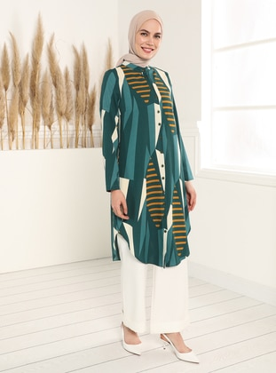 Green - Multi - Button Collar - Tunic