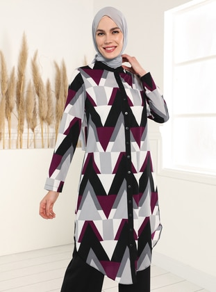 Plum - Multi - Button Collar - Tunic
