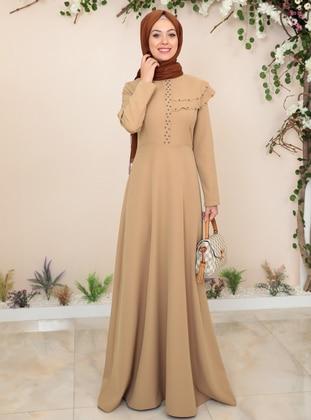 Camel - Unlined - Crew neck - Muslim Evening Dress