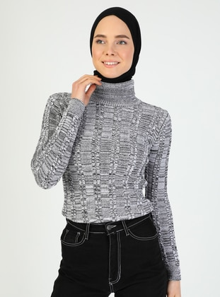 Gray - Unlined - Polo neck - Knit Sweaters