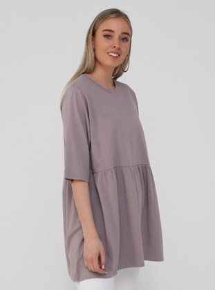 Lilac - Crew neck - Plus Size Tunic