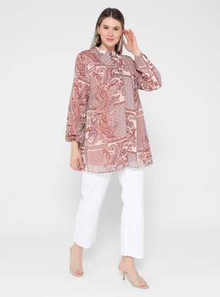 Multi - Ethnic - Button Collar - Plus Size Tunic