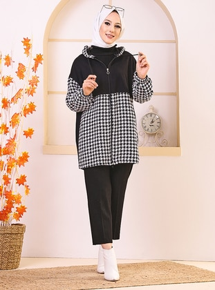 White - Houndstooth - Tunic