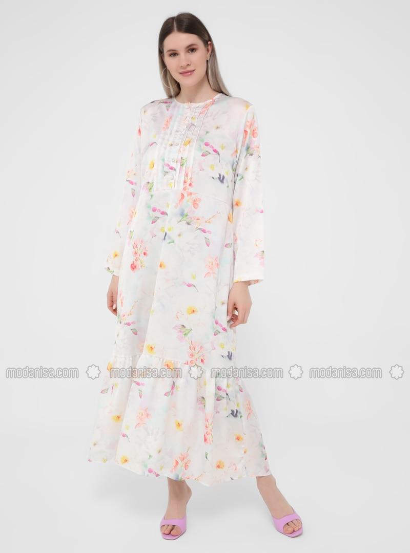 Multi - Floral - Unlined - Crew neck - Plus Size Dress