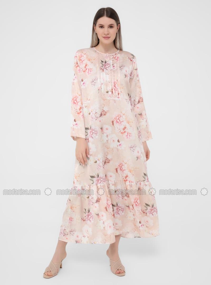 Salmon - Floral - Unlined - Crew neck - Plus Size Dress
