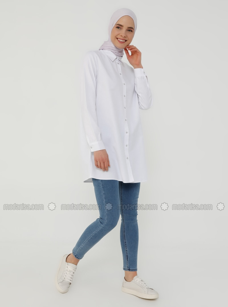 White - Ecru - Point Collar - Tunic - Basic