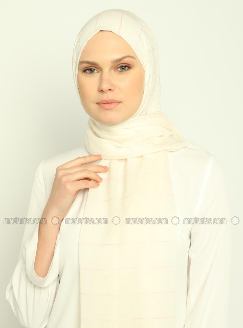 Ecru - Powder - Striped - Shawl