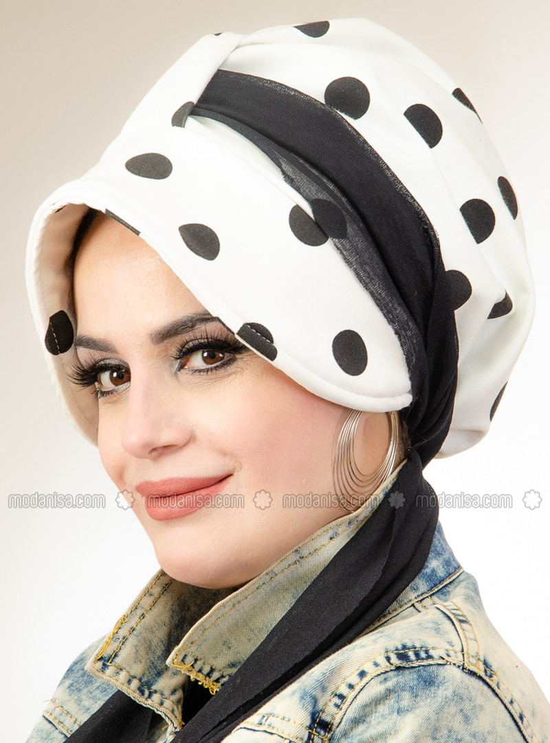 White - Printed - Instant Scarf