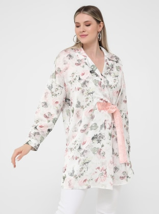 Ecru - Floral - Shawl Collar - Unlined - Plus Size Jacket