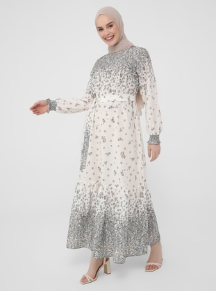 Powder - Floral - Crew neck - Unlined - Modest Dress - Casual