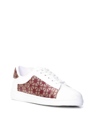 White - Maroon - Sport - Sports Shoes
