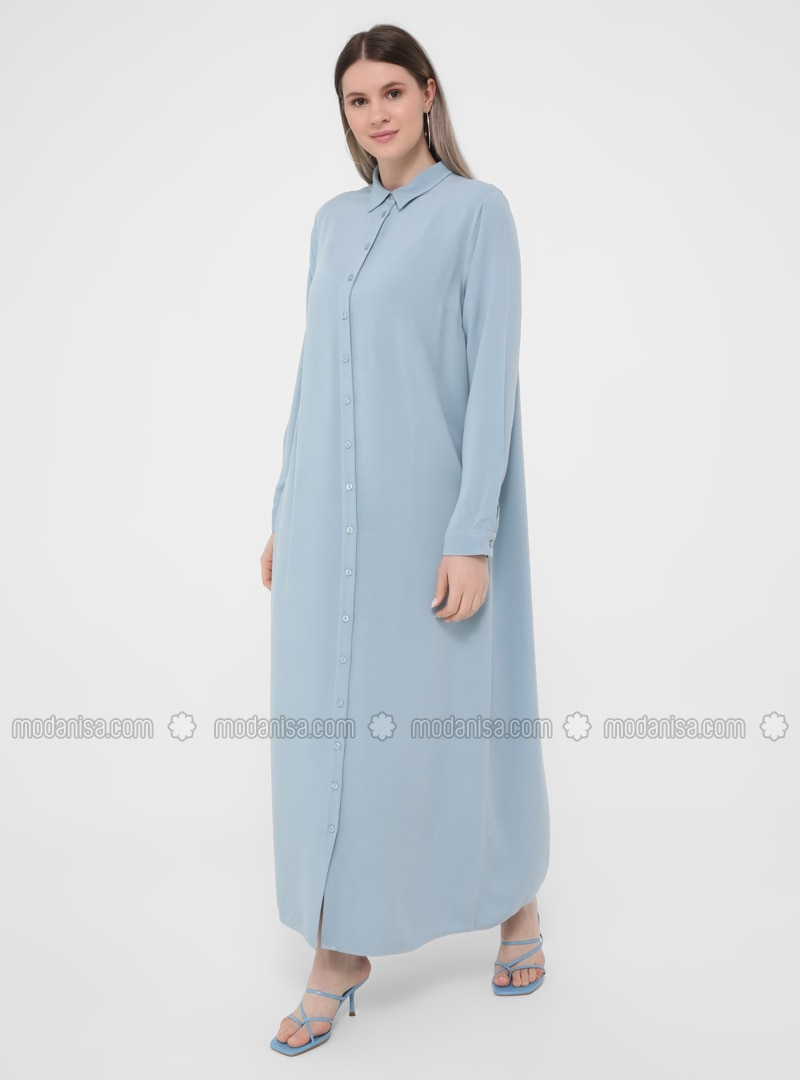 Ice Blue - Unlined - Point Collar - Plus Size Dress