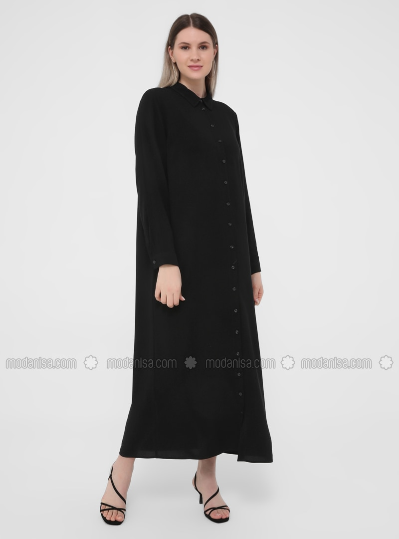 Black - Unlined - Point Collar - Plus Size Dress