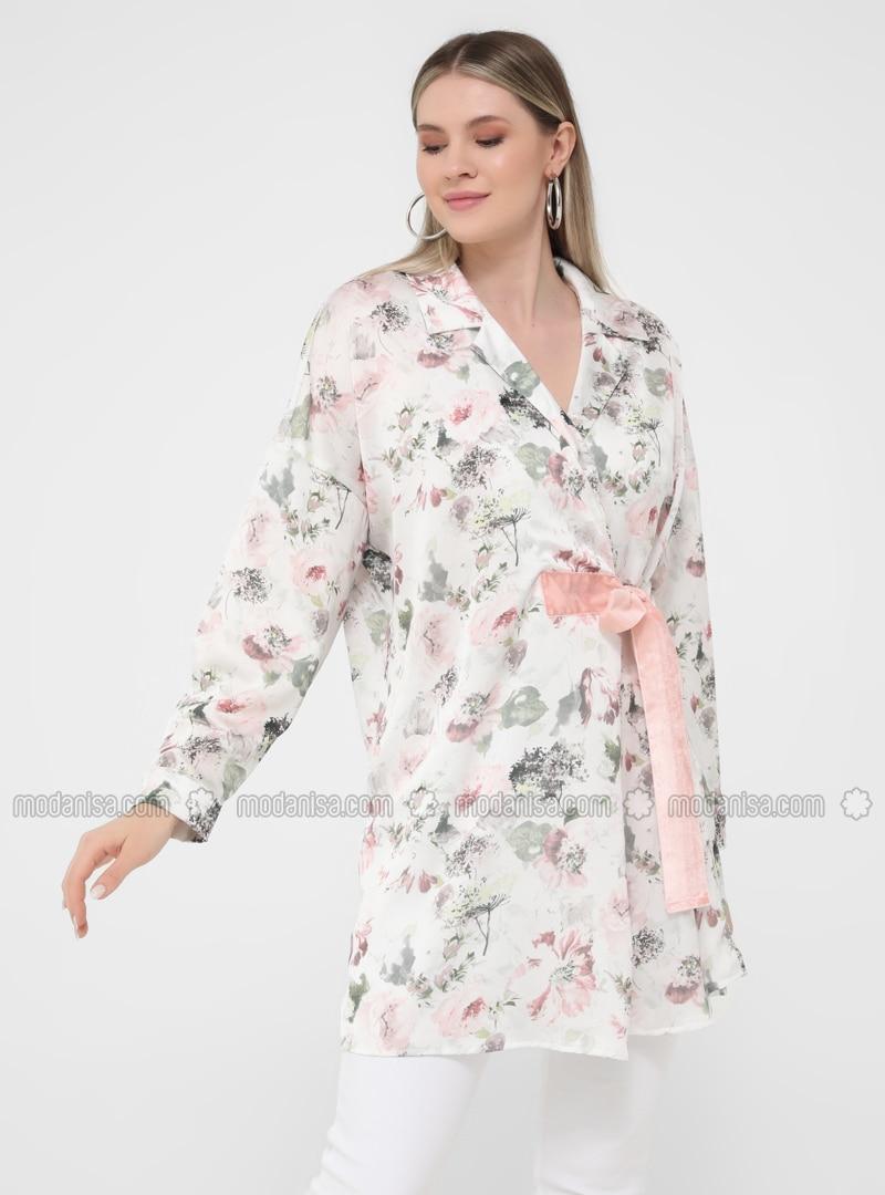 Ecru - Floral - Shawl Collar - Unlined - Plus Size Jacket