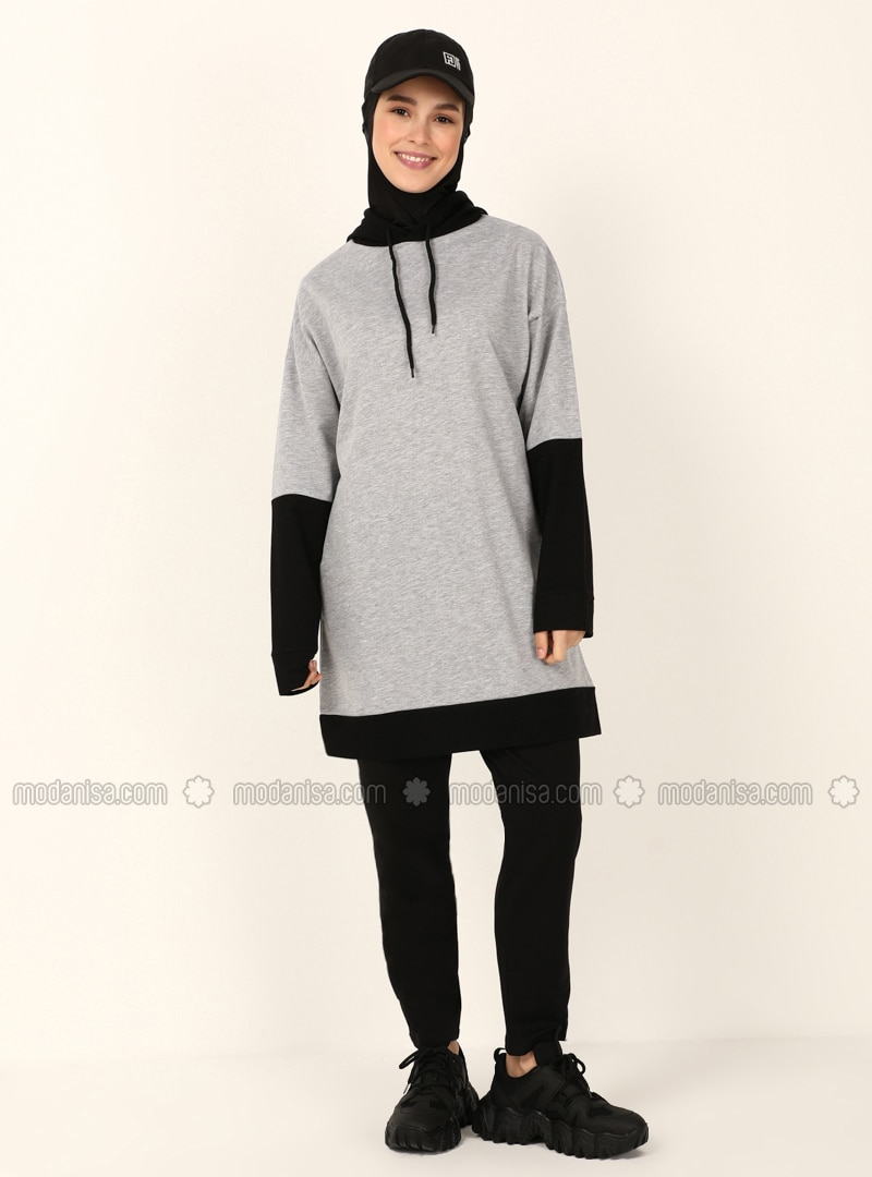 Gray - Black - Sweat-shirt