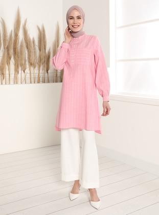 Dusty Rose - Stripe - Button Collar - Tunic