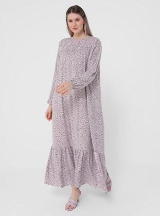 Powder - Floral - Unlined - Crew neck - Plus Size Dress - Alia