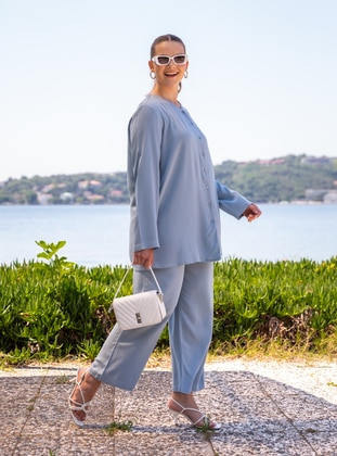Ice Blue - Crew neck - Unlined - Plus Size Suit