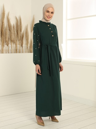 Emerald - Crew neck - Unlined - Modest Dress