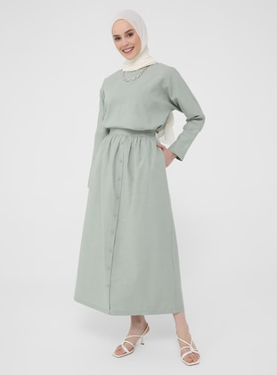 Green - Unlined - Skirt - Casual