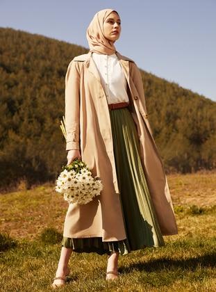 Pleated Satin Aerobin Skirt - Thyme - Woman