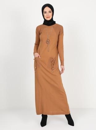 Camel - Unlined - Crew neck - Knit Dresses