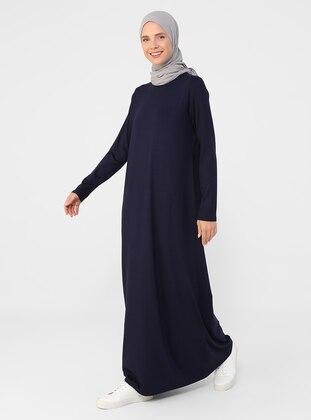Navy Blue - Crew neck - Modest Dress - Basic