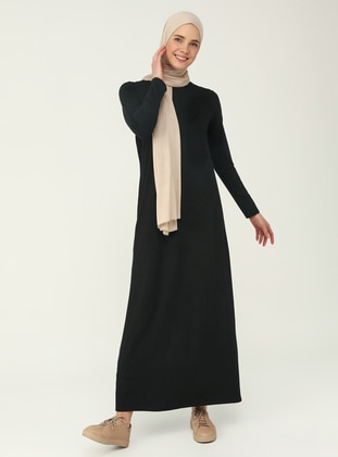 Black - Crew neck - Modest Dress - Basic