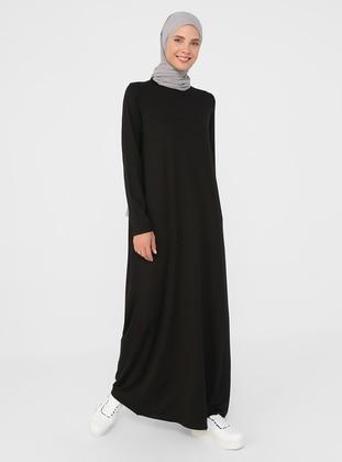 Black - Crew neck - Modest Dress - Basic