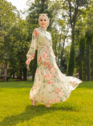 Beige - Pink - Floral - Button Collar - Fully Lined - Modest Dress