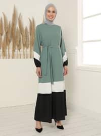 Color Blok Belted Dress - Reseda Green