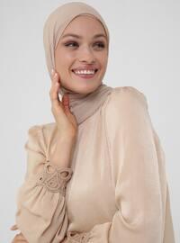 Stylish Blouse With Lace Cuffs - Ecru - Woman