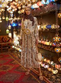 Pattern Block Chiffon Relax Fit Dress - Natural Floral Print - Woman