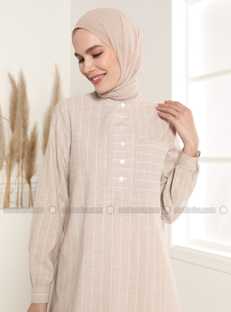 Beige - Stripe - Button Collar - Tunic