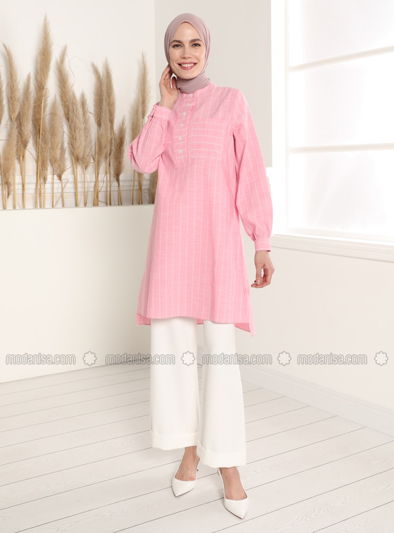 Dusty Rose - Stripe - Button Collar - Tunic