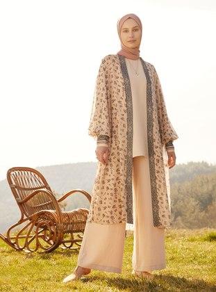 Aerobın Basic Tunic & Trousers Set - Beige - Refka Woman