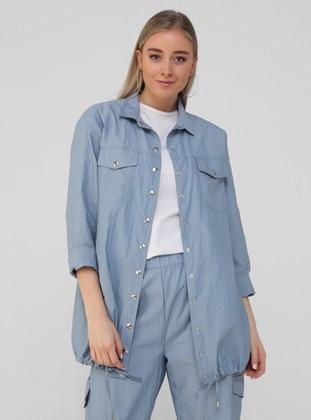 Blue - Point Collar - Unlined - Plus Size Jacket - Alia
